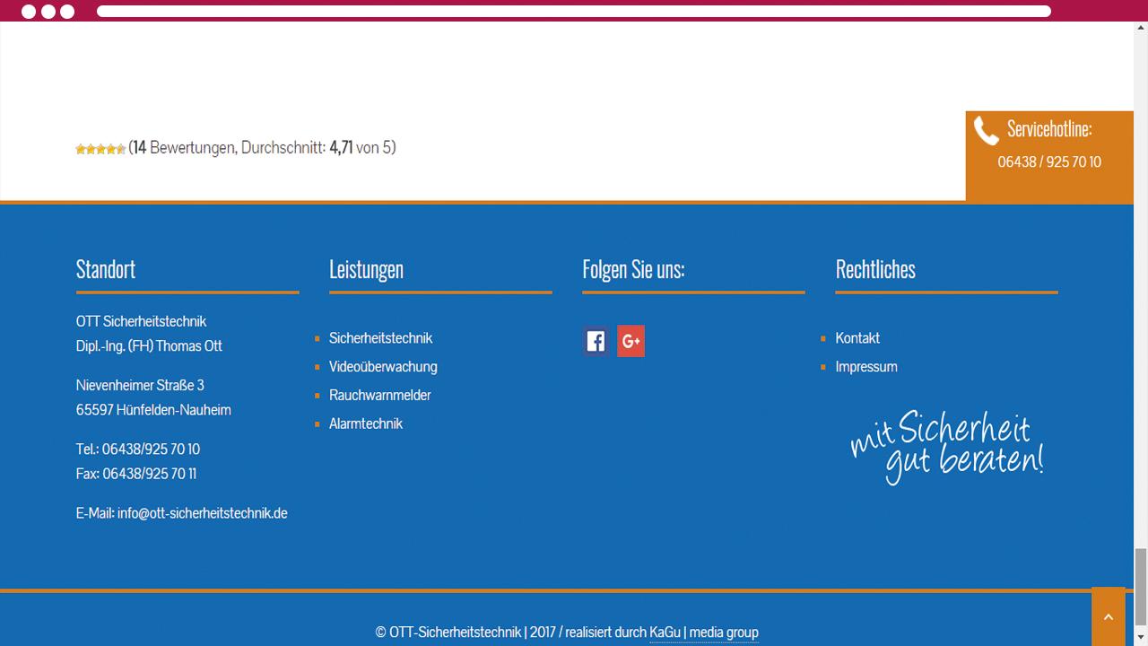 Browser Ansicht Ott Sicherheitstechnik 2