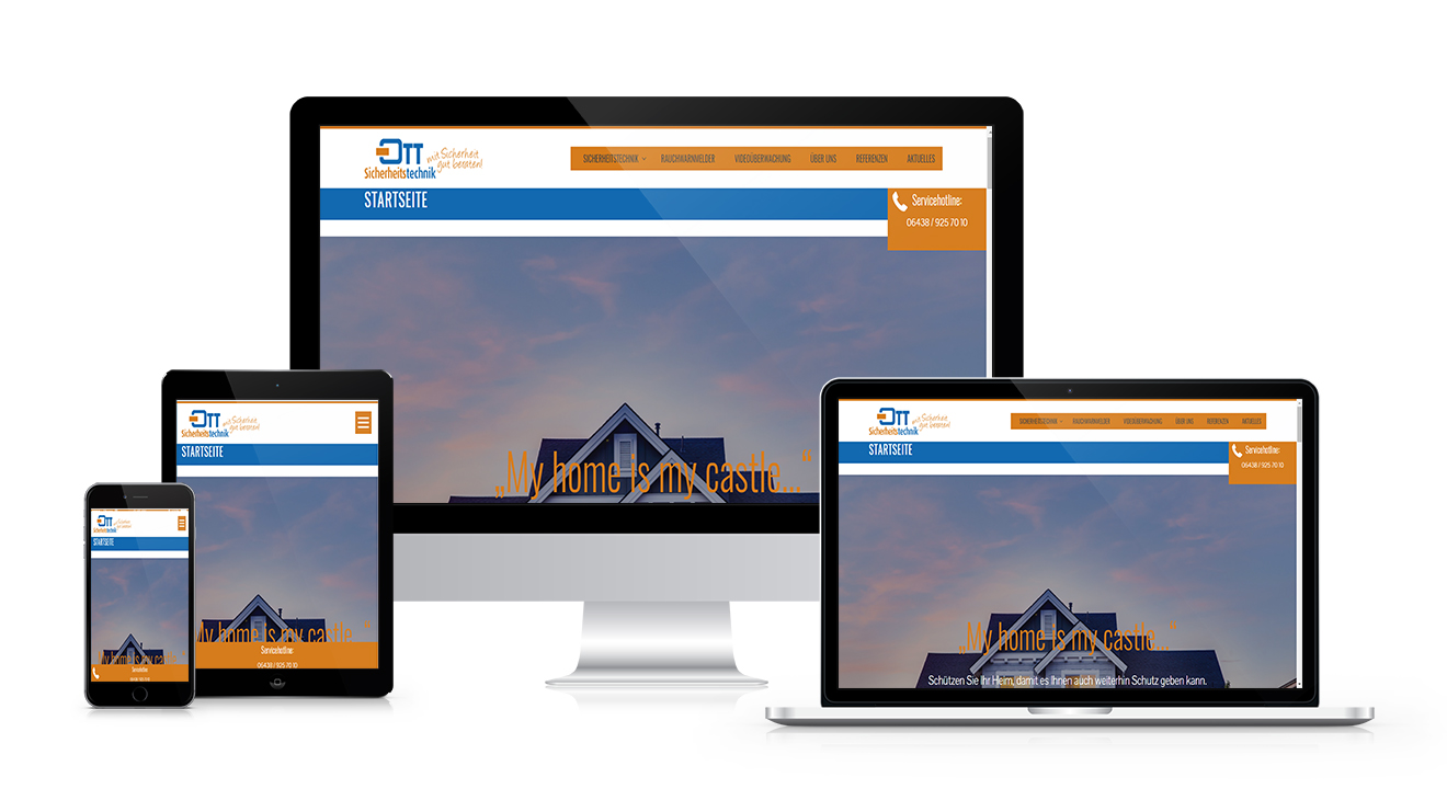 Responsive Webdesign - Webseite Ott-Sicherheitstechnik