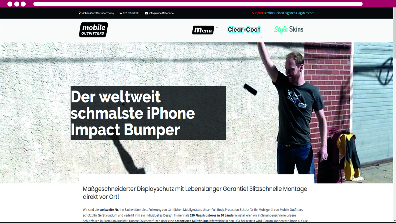 Mobile Outfitters Browseransicht