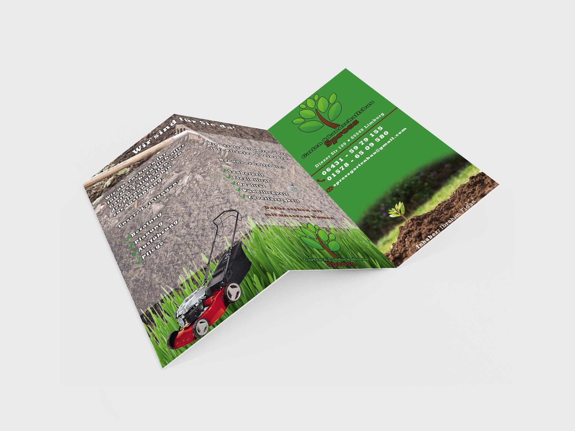 Spross Garten und Landschaftsbau Flyer Außen Präsentation