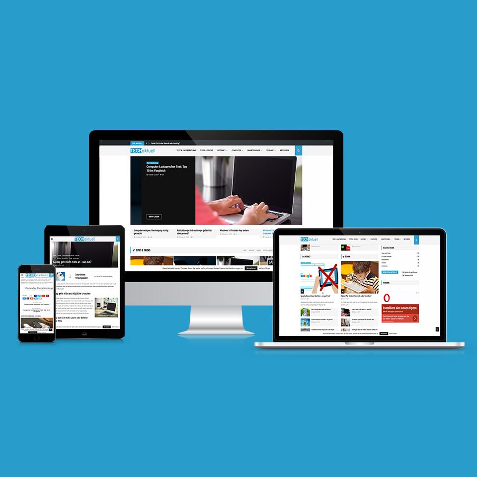 Webseite eines Technikblogs von Techaktuell